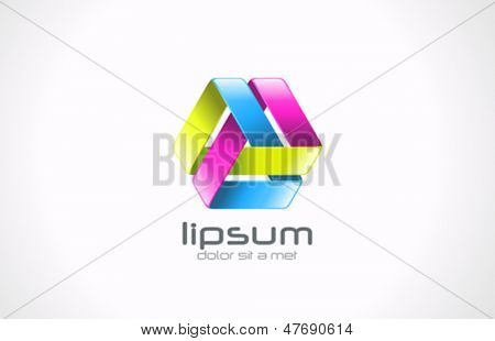 Abstract looped ribbon vector logo template. Department infinite cycle concept. Media loop icon.