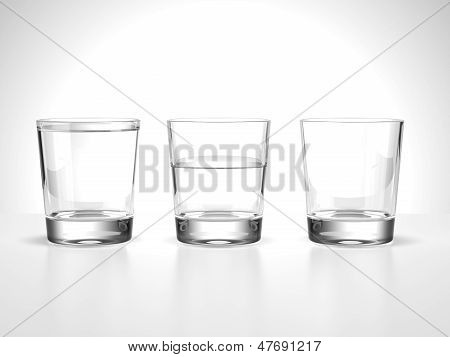 full,half  and empty water glasses