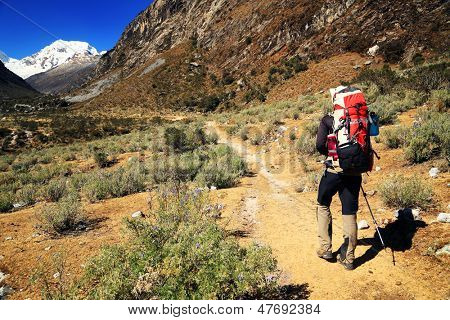 Trekking in Cordiliera Blanca, Cohup Valley, Peru, South America