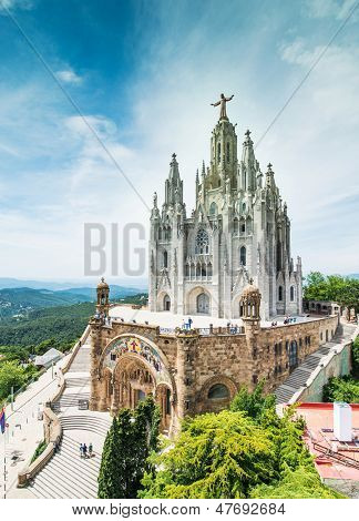 BARCELONA - JUNE 07: Temple Expiatori del Sagrat Cor on June 07, 2013 in Barcelona, Spain. The construction of the temple lasted from 1902 to 1961.