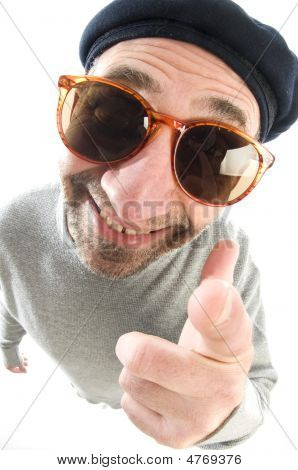 Aging Artist Thinking Distorted Nose Close Up Beret Hat Smiling Happy Pointing