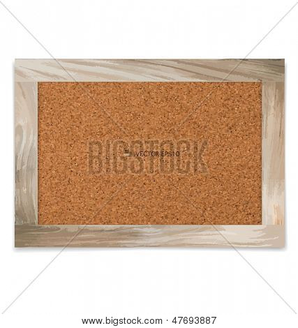 Cork board in a wood frame. Vector illustration