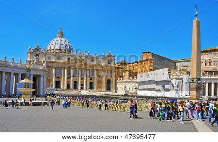 VATICAN, ITALY - APRIL 18: View of Basilica of Saint Peter on April 18, 2013 in Vatican City, Italy. The dome of Saint Peter is the tallest in the world with a total height of 136.57 meters