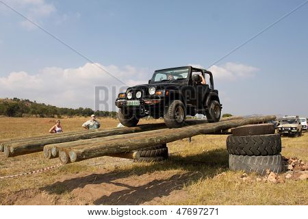 Black Jeep Wrangler On 4X4 Course
