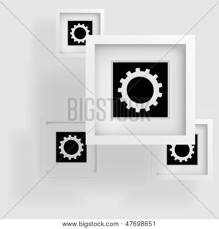 cogwheels, abstract frame and shadow on the surface