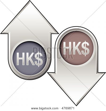 Hong Kong Dollar Currency Icon On Up And Down Arrow Buttons