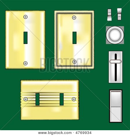Light Switches And Faceplates - Brass