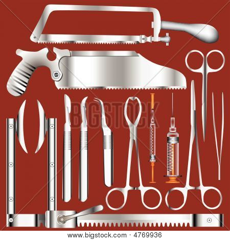 Surgeon's Tools In Color