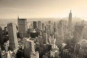 stock photo of empire state building  - New York City skyline black and white in midtown Manhattan aerial panorama view in the day - JPG