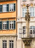 pic of samson  - Old pillory post above fountain at Schwabisch Hall Germany - JPG