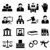 stock photo of jury  - Justice and legal icon set in black - JPG