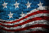 stock photo of democracy  - American Flag style brick wall grunge background - JPG