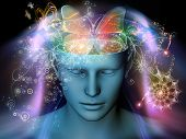 stock photo of butterfly  - Design composed of cutout of male head and symbolic elements as a metaphor on the subject of human mind consciousness imagination science and creativity - JPG