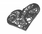 picture of pacemaker  - Heart symbol made out of cogs and gears - JPG