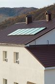 Solar Panel (geliosystem) On The House Roof. poster