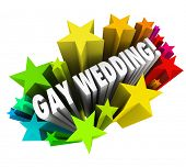 A starburst of colorful fireworks to celebrate a Gay Wedding with homosexual marriages between a cou