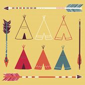 stock photo of teepee  - Teepee Tents and arrows  - JPG