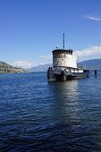 stock photo of penticton  - Old tug boat moored on Lake Okanagan Penticton British Columbia Canada - JPG