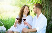 stock photo of amor  - Beautiful Young Couple Having Picnic in Countryside - JPG