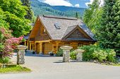 image of nice house  - Fragment of a nice house over fantastic snow mountain view in Whistler - JPG