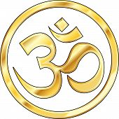 pic of om  - Hindu om symbol icon with shiny gold color and texture - JPG