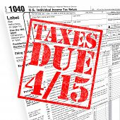 pic of income tax  - A tax time themed montage for US taxpayers warning about the due date of April 15 - JPG