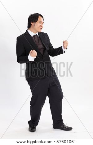 Isolated Business Man Winner Overwhite Background
