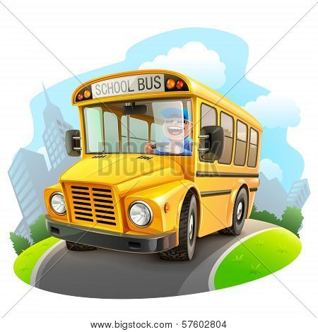 Funny school bus illustration