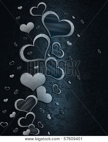 White hearts on a blue background