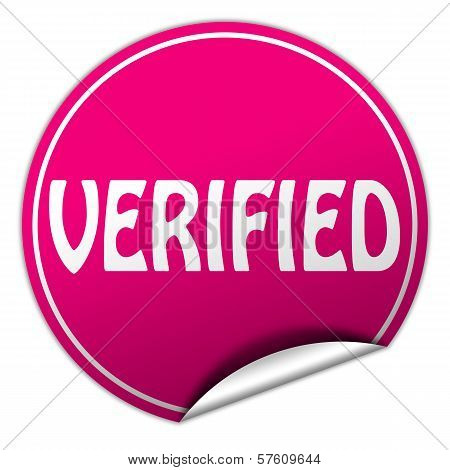 Verified Round Pink Sticker On White Background