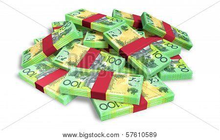 Australian Dollar Notes Scattered Pile