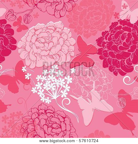 Seamless Pattern With Butterflies Silhouettes And Hand Drawn Flowers - Abstract Background In Pink C