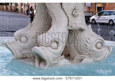 Baroque Triton Fountain (fontana Del Tritone) In Rome Italy