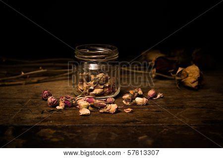 Romantic Scene Of Scattered Rosebuds