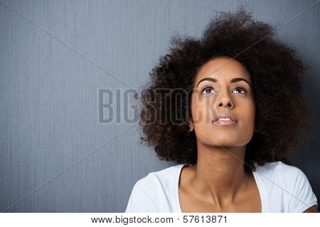 Serious Wistful Young Woman With An Afro