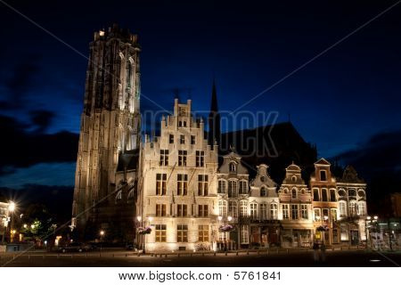 Traditional European City At Night