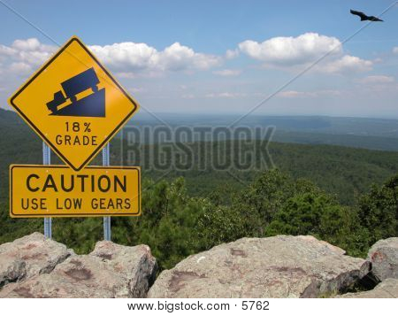 Road Sign At Mountain Edge 2