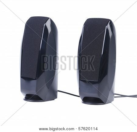Black two speaker with wire.