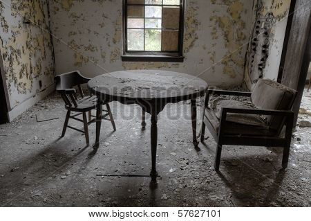 Two chairs in abandoned house