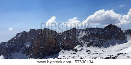Panorama Of Snowy Mountains In Spring
