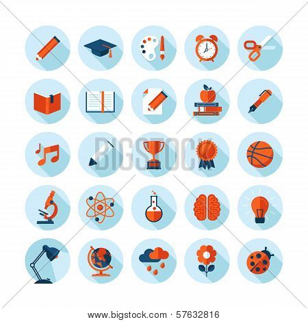 Set of modern flat icons with long shadow in stylish colors on education, sport, science, biology, a