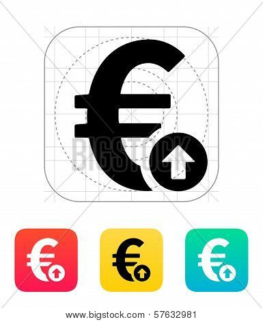 Euro exchange rate up icon.