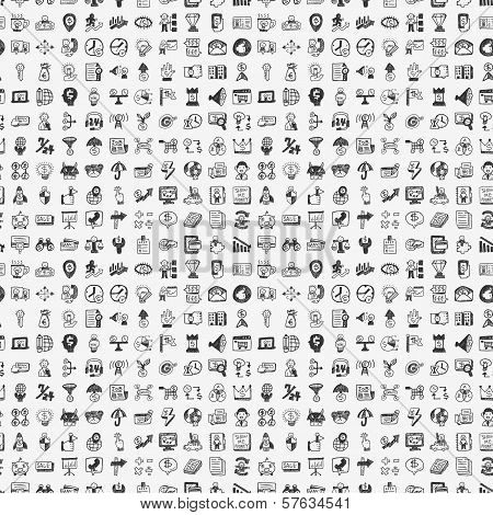 Seamless Doodle Business icons