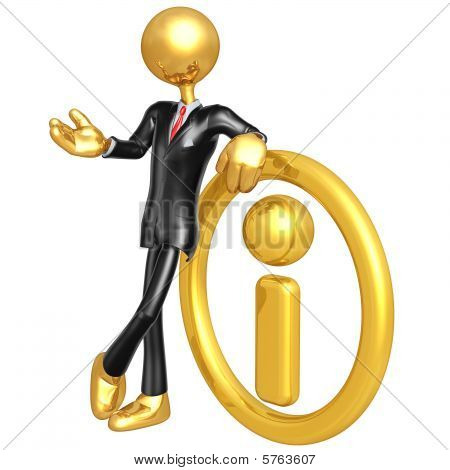 3D Businessman With Golden Information
