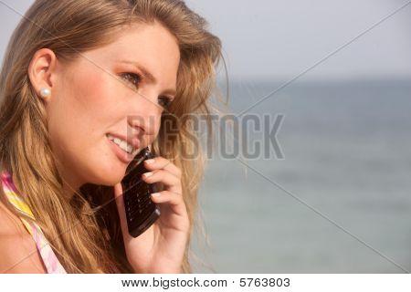 Beach Woman On The Phone