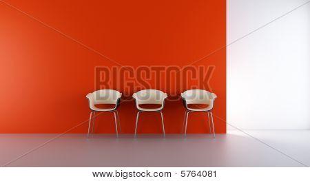 Three chairs on wall