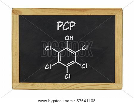 chemical formula of pcp on a blackboard