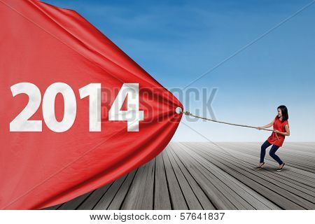 Woman Pulling Banner Of New Year 2014