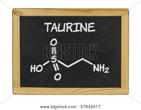 chemical formula of taurine on a blackboard