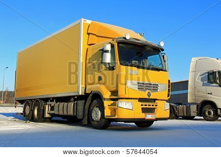 Yellow Renault Premium 410 Delivery Truck
